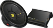 "Kicker - KickPak - CompS 12"" Single-Voice-Coil 4-Ohm Subwoofer and DX Series 250W Class D Mono Amplifier - Black"