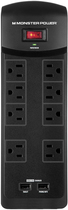 Monster - Core Power 800 USB 8-Outlet Surge Protector