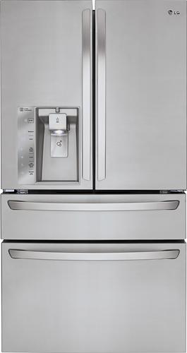 LG - 22.7 Cu. Ft. Counter-Depth 4-Door French Door Refrigerator with Thru-the-Door Ice and Water - Stainless Steel