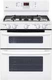 """LG - 30"""" Self-Cleaning Freestanding Double Oven Gas Range - Smooth White"""