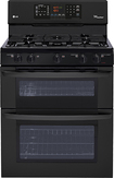 """LG - 30"""" Self-Cleaning Freestanding Double Oven Gas Range - Smooth Black"""