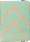 "Studio C - Chevron On & On Case for Most Tablets Up to 10"" - Linen/Aqua"