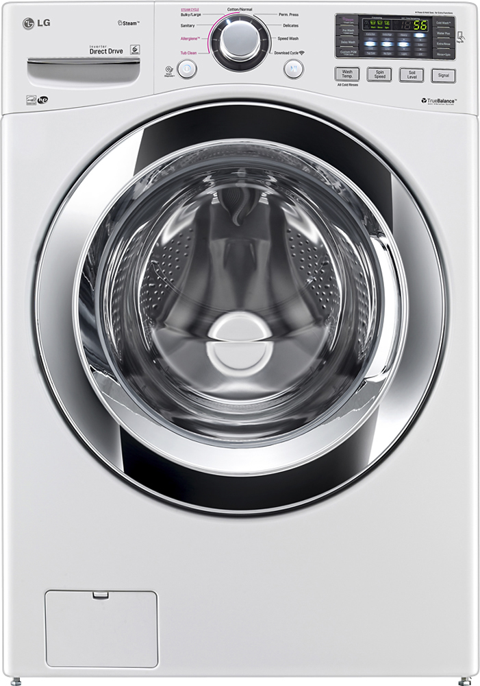 LG 4.3 Cu. Ft. 9-Cycle High-Efficiency Steam Front-Loading Washer White WM3370HWA