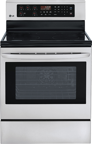 """LG - 30"""" Self-Cleaning Freestanding Electric Convection Range - Stainless Steel"""