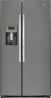 GE - 25.4 Cu. Ft. Frost-Free Side-by-Side Refrigerator with Thru-the-Door Ice and Water - Slate
