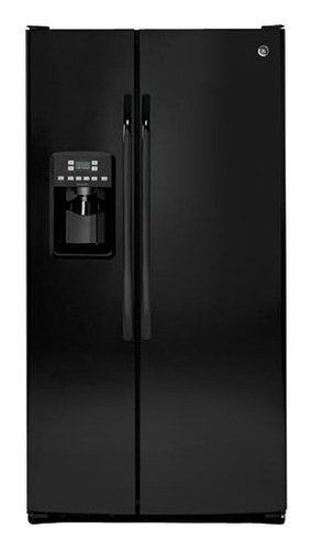 Hotpoint - 25.4 Cu. Ft. Side-by-Side Refrigerator with Thru-the-Door Ice and Water - Black