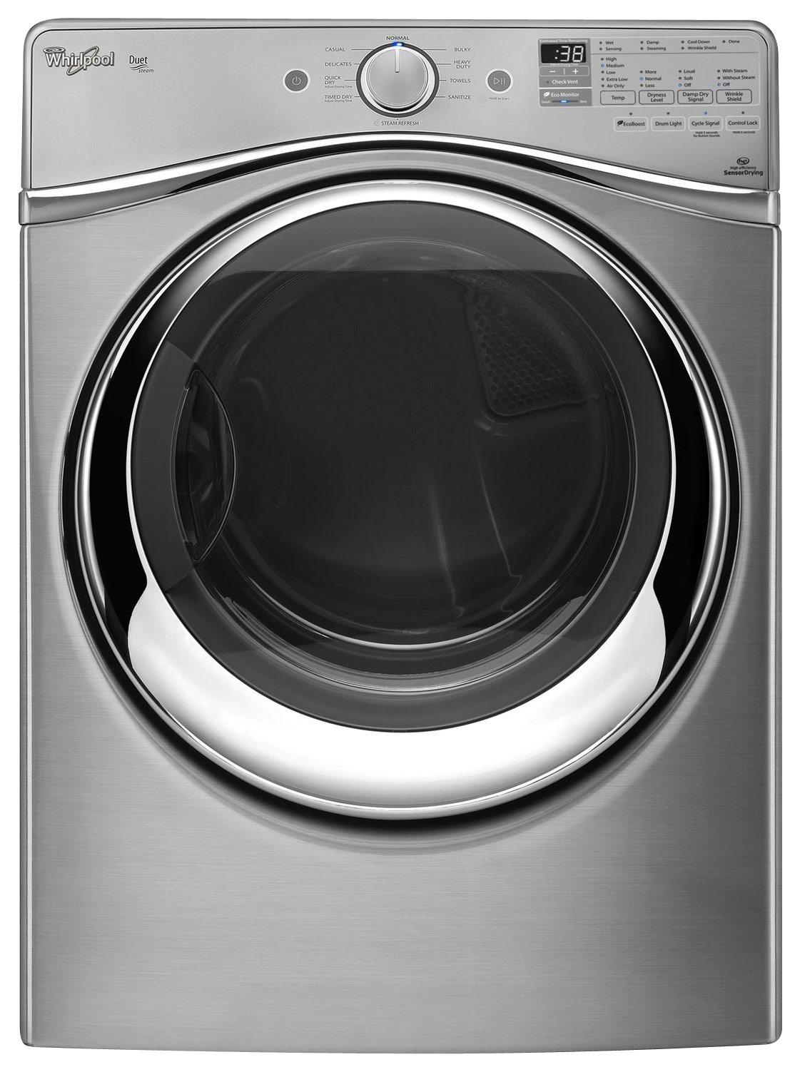 Whirlpool - Duet 7.4 Cu. Ft. 10-Cycle Steam Electric Dryer - Diamond Steel