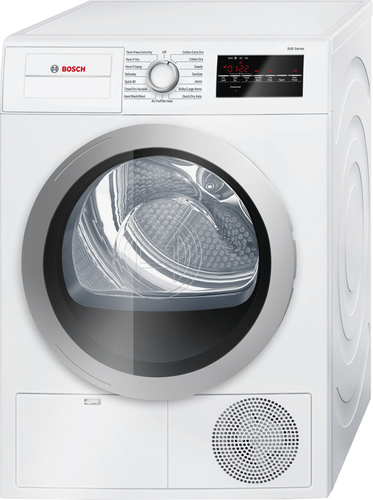 Bosch - 500 Series 4.0 Cu. Ft. 15-Cycle High-Efficiency Compact Electric Dryer - White/Silver