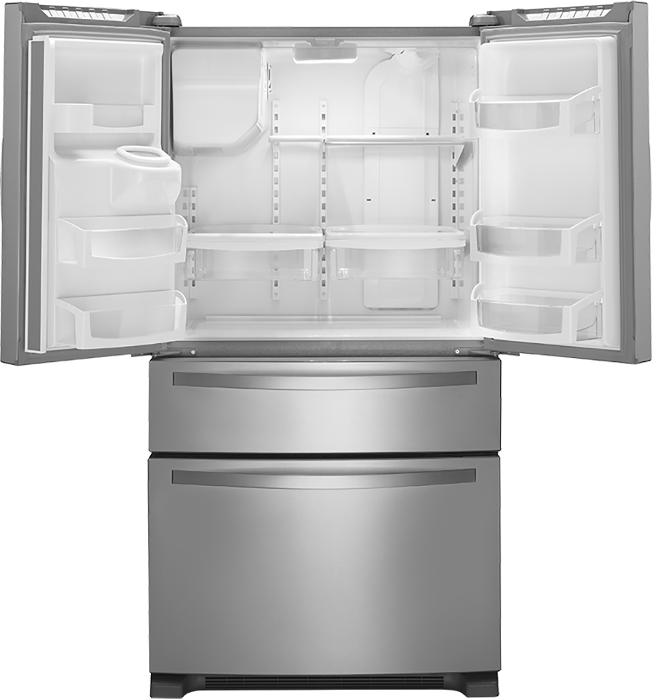 Whirlpool white ice counter depth french door - Whirlpool 25 0 Cu Ft French Door Refrigerator With Thru The Door Ice And Water Monochromatic Stainless Steel At Pacific Sales
