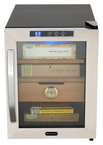 Whynter - 1.2 Cu. Ft. Cigar Cooler Humidor - Stainless-Steel
