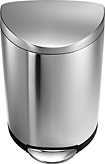 Simplehuman - 10.5-Gallon Semi-Round Step Garbage Can - Brushed Steel
