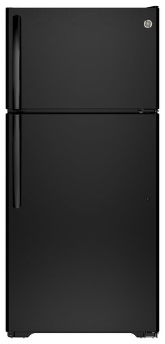 GE - 14.6 Cu. Ft. Top-Freezer Refrigerator - Black