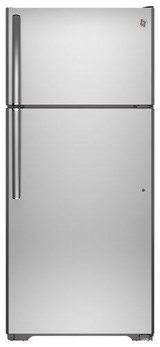 GE - 15.5 Cu. Ft. Top-Freezer Refrigerator - Stainless Steel
