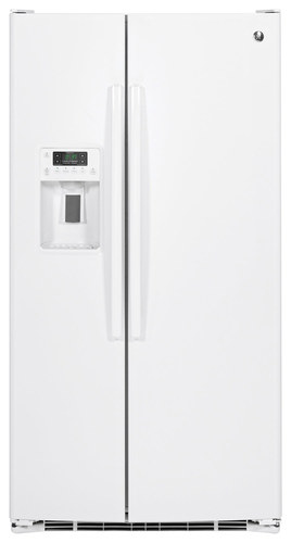 GE - 25.4 Cu. Ft. Side-by-Side Refrigerator - High-Gloss White