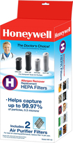 Honeywell - Hepa Filters For Select Honeywell Hepa Tower Air Purifiers (2-pack) - Blue 8892057