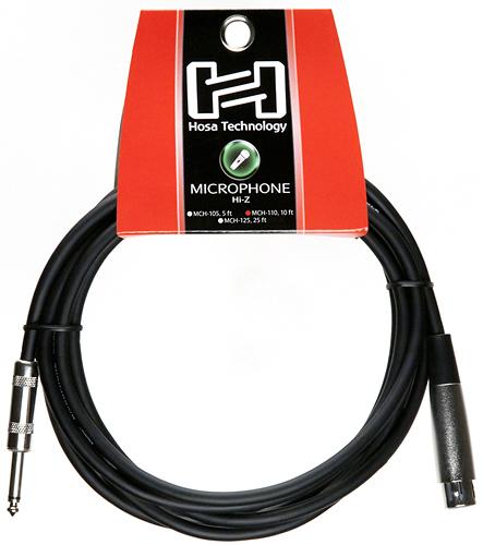 Hosa Technology - Standard 10' Hi-Z Microphone Cable - Black