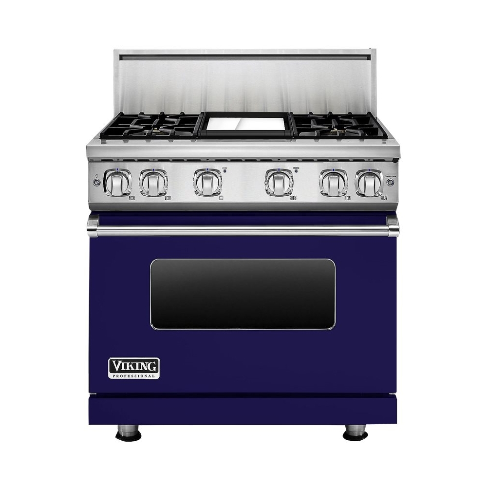 Viking - 5.1 Cu. Ft. Self-Cleaning Freestanding Gas Convection Range - Cobalt blue - Front_Zoom
