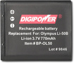 DigiPower - Rechargeable Lithium-Ion Battery for Select Olympus Digital Cameras - Black