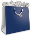 Best Buy Exclusive - Large Gift Bag - Navy Blue/Silver