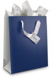 Best Buy Exclusive - Medium Gift Bag - Navy Blue/Silver