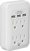 Dynex™ - 4-Outlet 3-USB-Port Power Hub with Surge Protection