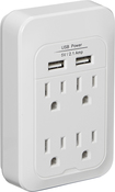 Dynex™ Direct - 4-Outlet 2-USB-Port Power Hub