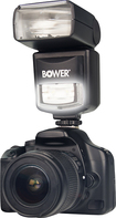 Bower - 2-in-1 Power Zoom i-TTL Digital External Flash and LED Light - Black