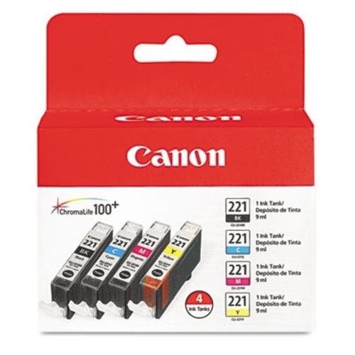 Canon - 221 4-Pack Ink Cartridges - Black/Cyan/Magenta/Yellow