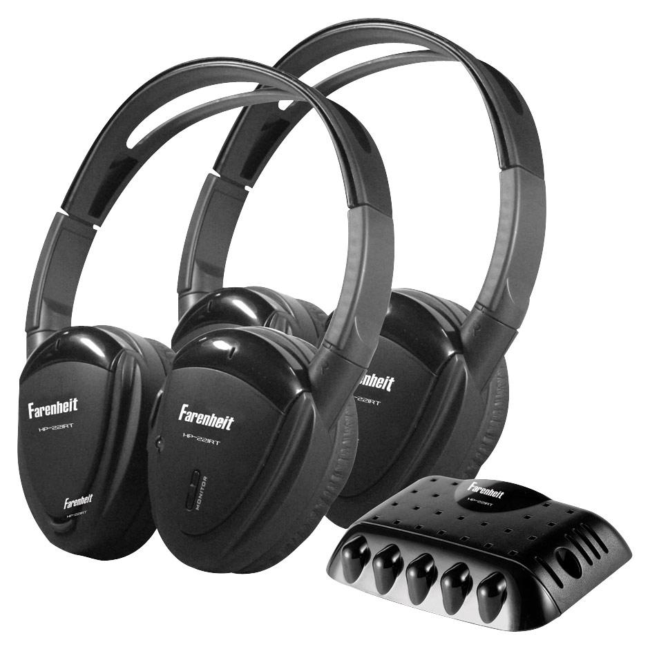 Power Acoustik - Wireless IR Headphones (2-Pack) - Black
