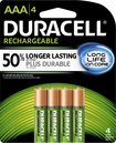 Duracell - Rechargeable AAA Batteries (4-Pack) - Green