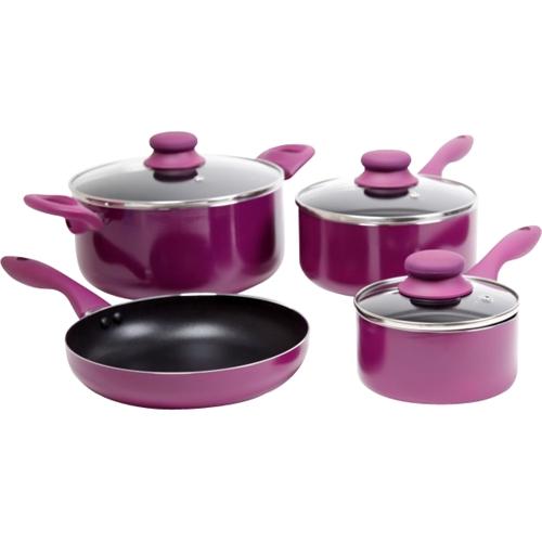 Gibson Home - Branston 7-piece Cookware Set - Purple