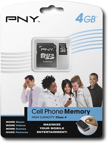 PNY - 4GB microSDHC Memory Card - Black