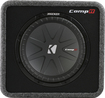 "Kicker - CompR 12"" Dual-Voice-Coil 2-Ohm Loaded Subwoofer Enclosure - Black"