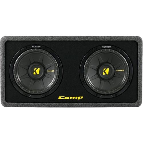 """Kicker - DCompS10 Dual 10"""" Single-Voice-Coil 2-Ohm Loaded Subwoofer Enclosure - Black"""