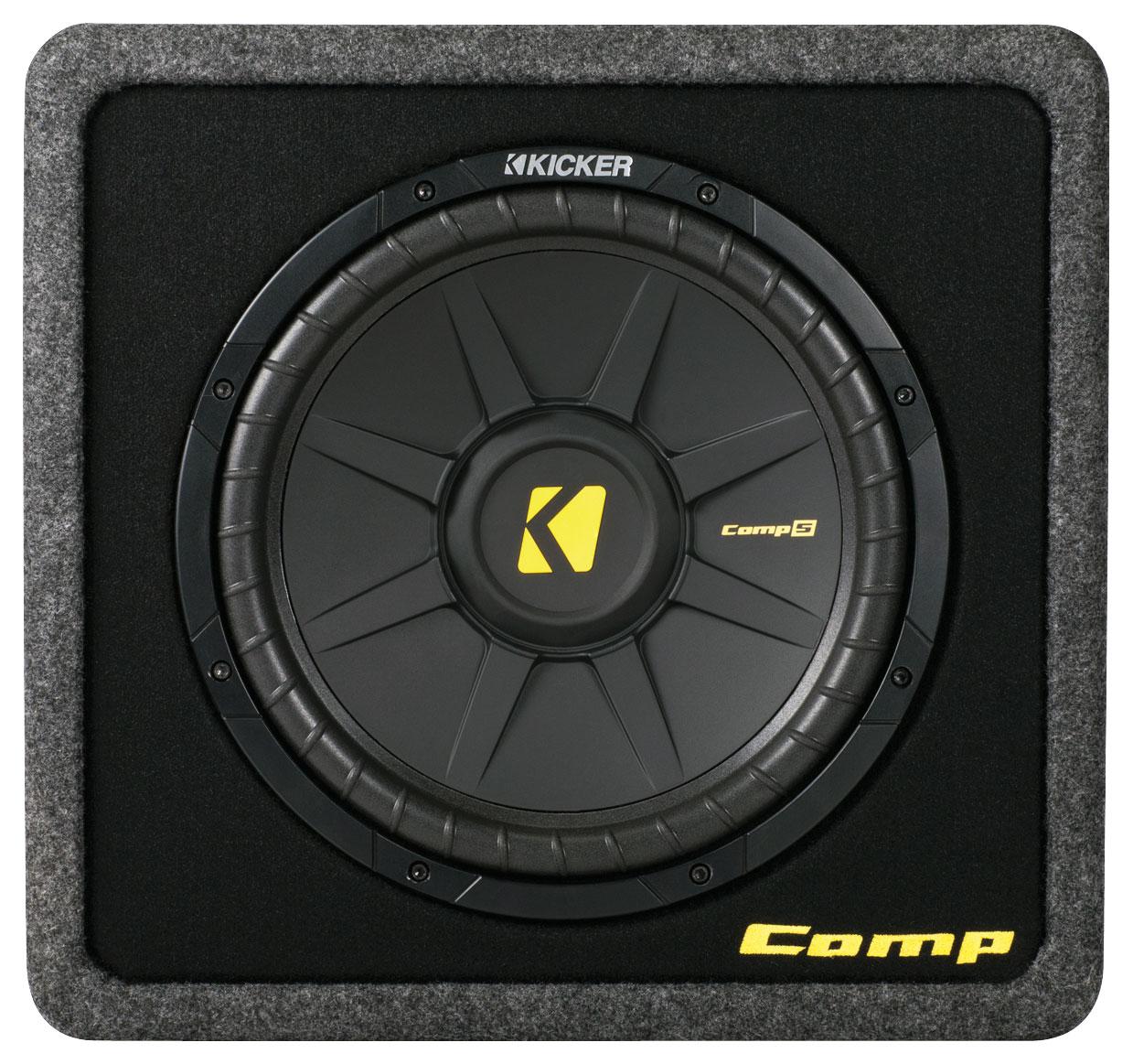 Kicker - CompS12 12 Single-Voice-Coil 2-Ohm Loaded Subwoofer Enclosure - Black