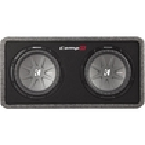 """Kicker - CompR Dual 10"""" Dual-Voice-Coil 2-Ohm Loaded Subwoofer Enclosure - Black"""
