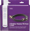 Smart Choice - 4' Rubber Washer Hose (2-Pack) Required for Hook-Up - Black