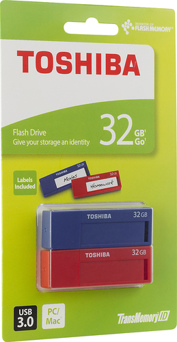 Toshiba - TransMemory ID 32GB USB 3.0 Type A Flash Drives (2-Count) - Blue/Red