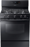 "Samsung - 30"" Self-Cleaning Freestanding Gas Range - Stainless-Steel/Black"