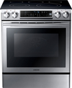 "Samsung - 30"" Self-Cleaning Slide-In Electric Convection Range - Stainless-Steel/Black"