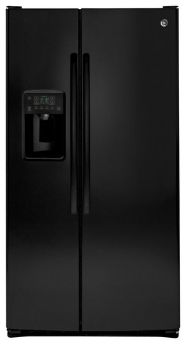 GE - 25.4 Cu. Ft. Side-by-Side Refrigerator - High-Gloss Black