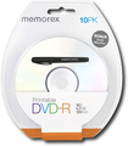 Memorex - 10-Pack 16x Printable DVD-R Disc Blister - White
