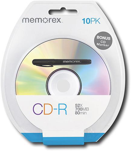 Memorex - 10-Pack 52x CD-R Disc Blister with Bonus CD Marker - Silver