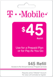 T-Mobile - $45 Top-Up Prepaid Card