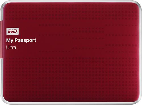 WD - My Passport Ultra 500GB External USB 3.0 Hard Drive - Red