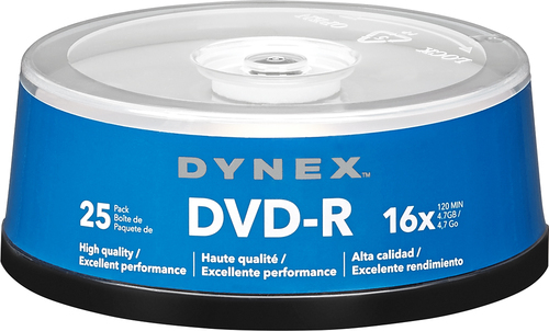 Dynex™ - 25-Pack 16x DVD-R Disc Spindle - Blue/Gray