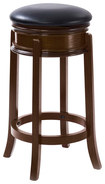 CorLiving - Woodgrove Round Wood Barstool - Dark Cappuccino/Black