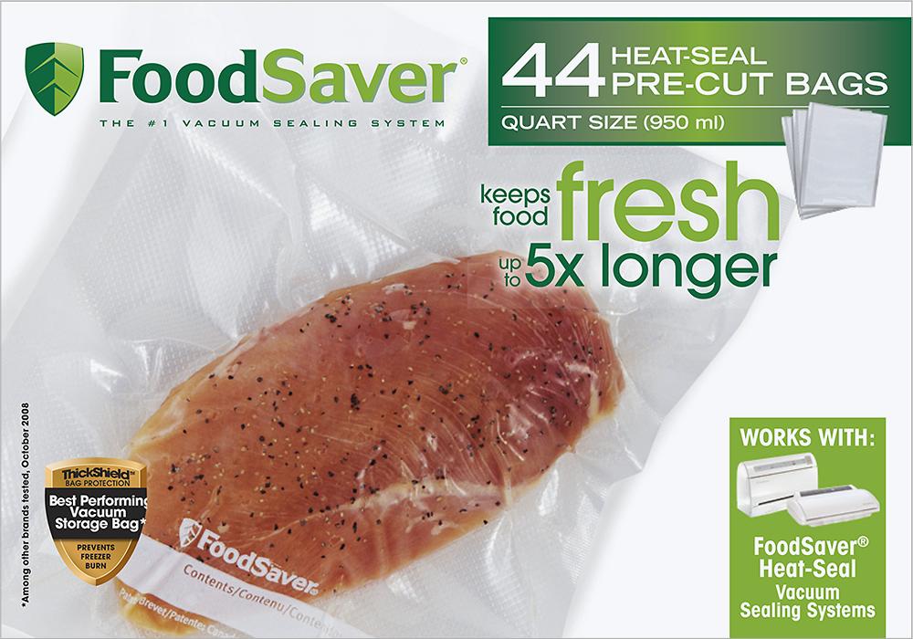 FoodSaver - Quart-Size Heat Seal Bags for FoodSaver Vacuum Sealer (44-Pack) - Clear