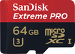 SanDisk - Extreme Pro 64GB microSDXC Class 10 Memory Card - Black/Red