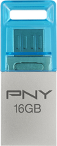 PNY - Metal Duo Link 16GB USB 2.0 Flash Drive - Steel Gray